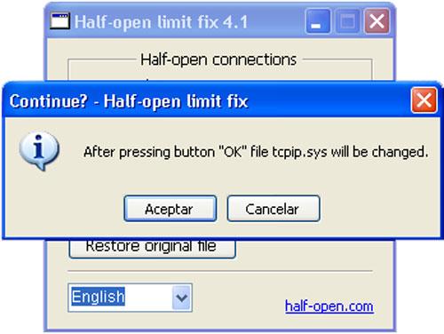 Half-open limit fix (patch)