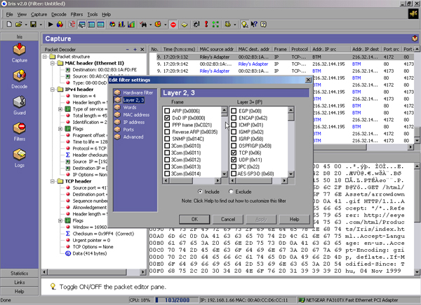 Network Traffic Analyzer : Images iris network traffic analyzer