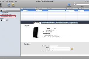 Utilitaire de configuration iPhone