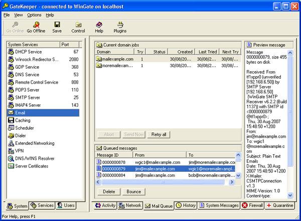 Преглед на снимка в оригинални размери. WinGate 6.6.4 Build 1338.